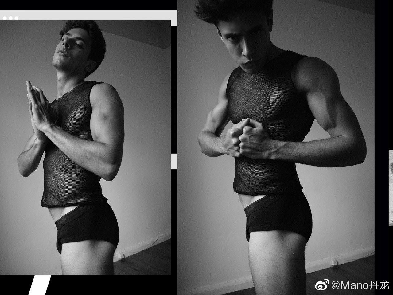 欧美小鲜肉男模高清黑白摄影照片第1张